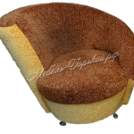кресло круглое коричнево-желтое 2